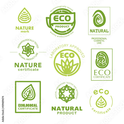 Vector flat eco product emblem set  Ecological cosmetic sign