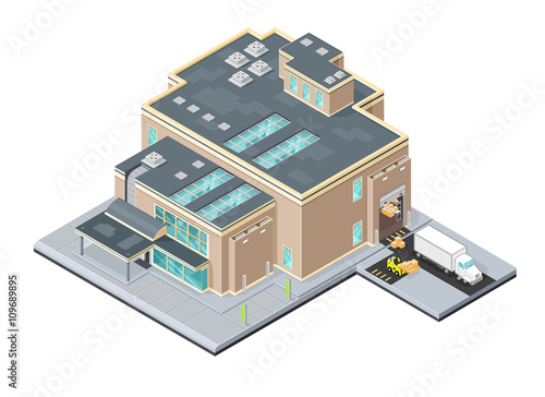Isometric Vector Illustration icon of Distribution warehouse factory Wallpaper Mural