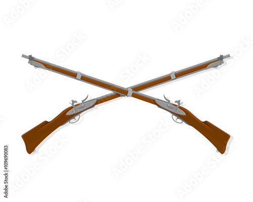 Fototapeta Vector Illustration icon of old crossed rifles