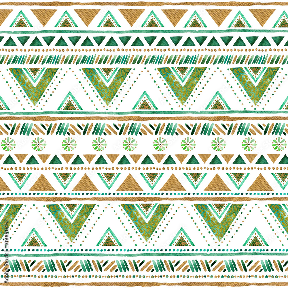Colorful gold-green handpainted backdrop.Arabic,Indian decorative watercolor texture.Boho elements.Striped gold-green style pattern background with design,stripes,triangles,ornaments,point and more