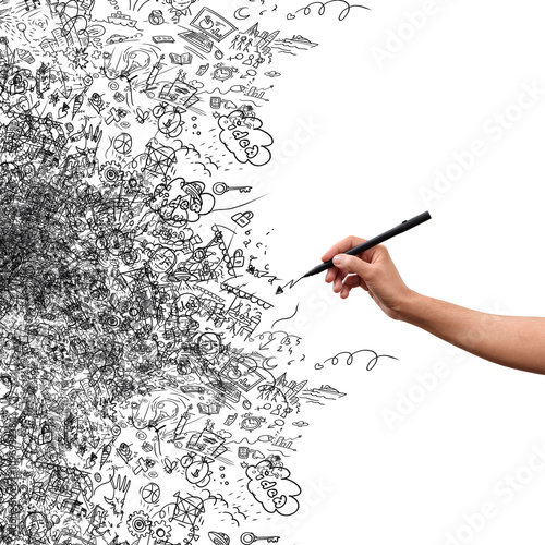Drawing hand, creative doodle