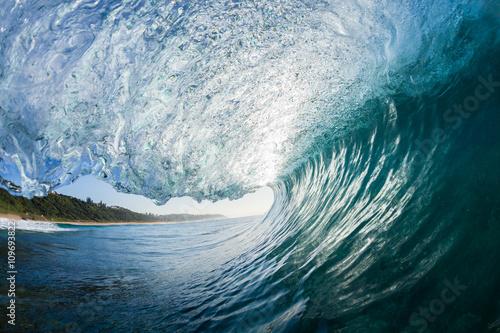 Stickers pour portes Eau Wave Inside blue crashing ocean water tube