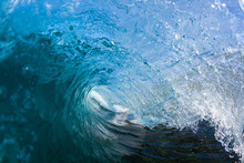 Wave Inside Blue Crashing Ocean Water Tube