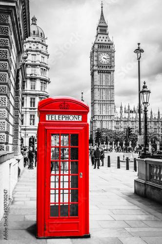 Fotografie, Obraz  Telefonzelle London Big Ben