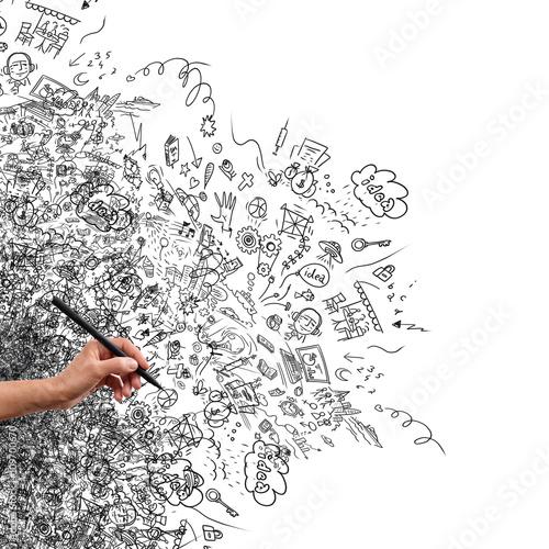 Fotografía  Drawing hand, creative doodle