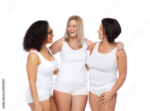 e755993d020 group of happy plus size women in white underwear - Buy this stock ...