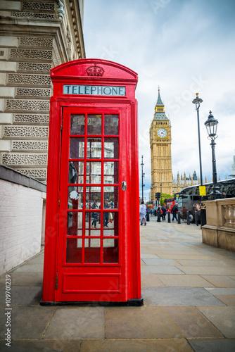 Papiers peints Rouge, noir, blanc Telefonzelle London Big Ben