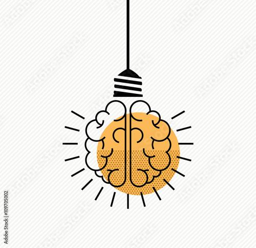 Fotografía  Human brain idea concept in modern line art style