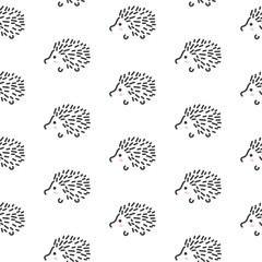 FototapetaHedgehog stylized line fun seamless pattern for kids and babies. Cute animal fabric design for textile linen and apparel in scandinavian simple style.