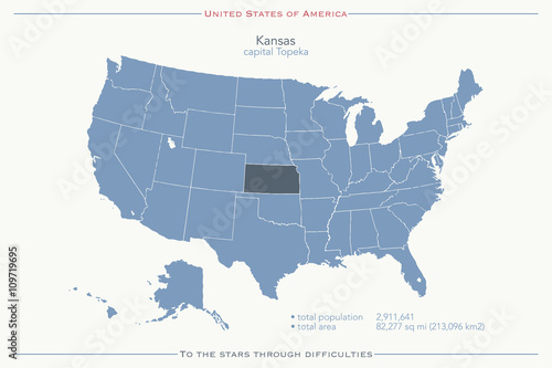 United States of America isolated map and Kansas State ...