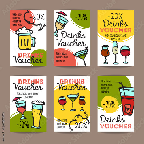 Vector set of discount coupons for beverages  Colorful