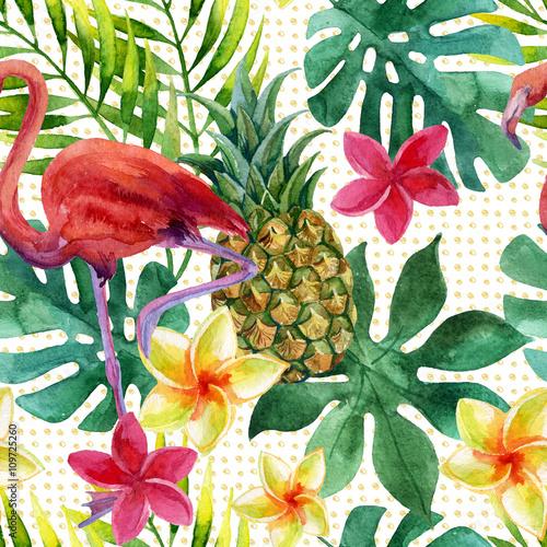 tropikalny-ananasowy-akwarela-kwiaty-i-liscie-z-cieniami