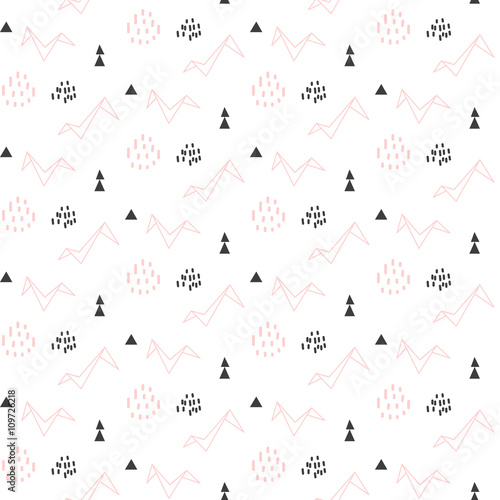 Light Pink Origami Bird Seamless Pattern For Kids And Babies