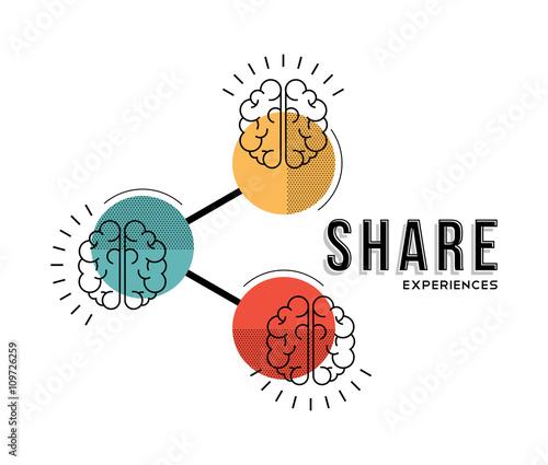 Fotografie, Tablou  Teamwork share experiences line art concept illustration