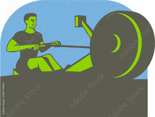 Fotografie, Obraz  Rower Rowing Machine Half Circle Retro