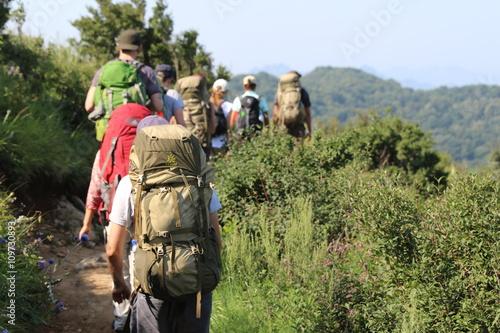 Photo Randonneurs de montagne en groupe