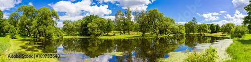 Poster Rivière de la forêt Beautiful summer landscape, Belarus