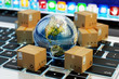 canvas print picture - Internet shopping, online purchases, e-commerce, international package delivery concept, global transportation business, stack of cardboard boxes and Earth globe on computer keyboard