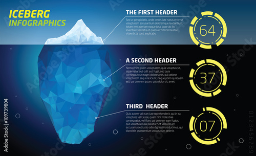 Photo Iceberg infographics. Ice and water, sea