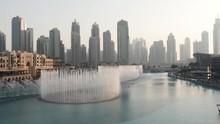 Zip Liner Flies Over A Fountain In Dubai