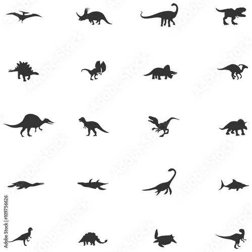 Fotomural Silhouette dinosaur and prehistoric reptile animal icon collection set, create b
