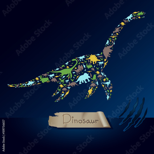 Cuadros en Lienzo Flat dinosaur and prehistoric reptile animal infographic banner background templ