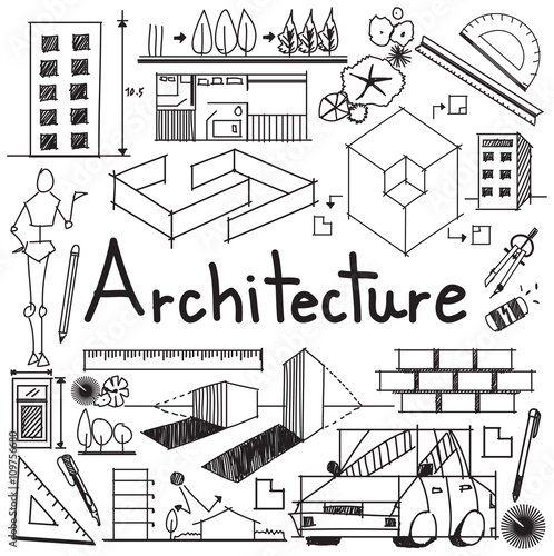 Interior design and building blueprint profession and education interior design and building blueprint profession and education handwriting doodle tool sign and symbol in white malvernweather Image collections