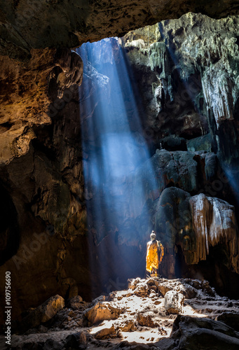 Amazing Buddhism with the ray of light in the cave, Ratchaburi P