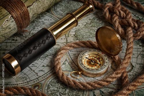 Foto auf AluDibond Schiff Nautical background with a navigation tools
