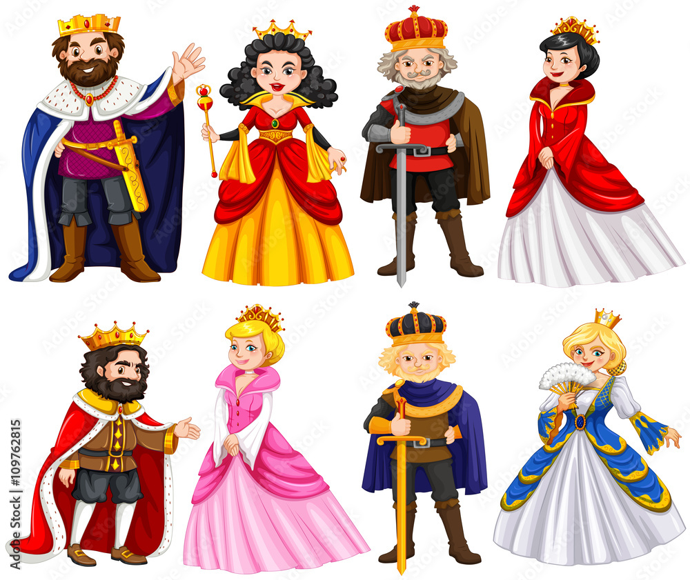 Fototapeta Different characters of king and queen
