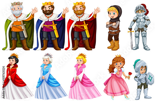 Photo Stands Kids Different fairytales characters on white background