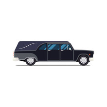 Hearse Black Car. Flat Style Icon. Isolated Illustration. Coffin Transport Limousine.