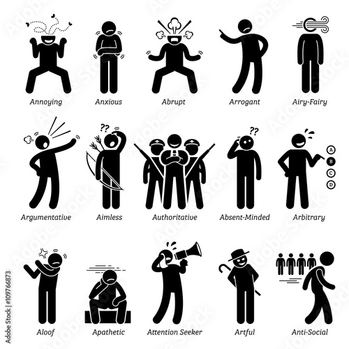 Negative Bad Personalities Character Traits Canvas Print
