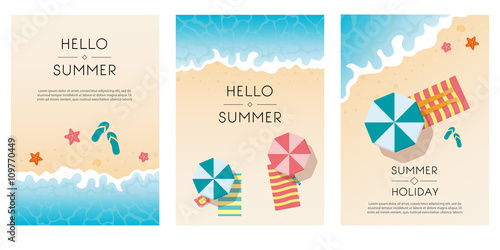 Photo  Set of summer travel fliers with beach items and wave
