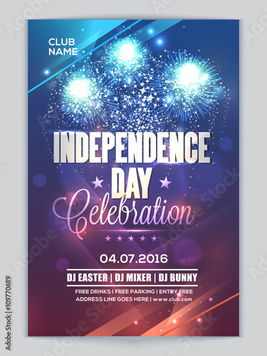 Elegant Glowing Party Pamphlet Dance Party Flyer For 4th Of July