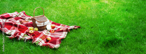 Obraz Checkered Plaid Picnic Basket Green Grass Summer - fototapety do salonu