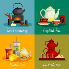 Panel Szklany Do herbaciarni Tea Concept Icons Set