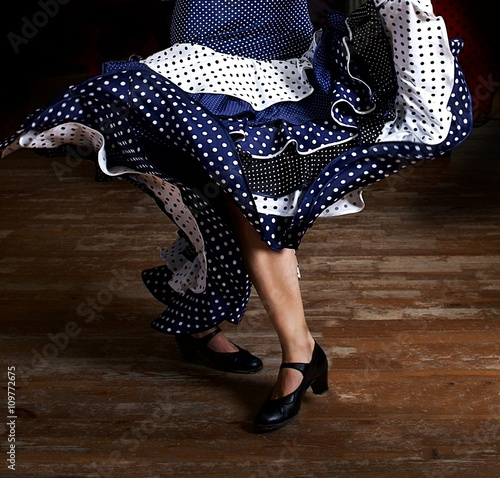 Legs of a woman flamenco dancing in traditional clothing Wallpaper Mural
