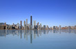 View of Chicago with reflection on the water