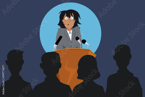 Photo  Terrified female speaker on a stage in front of the audience, EPS 8 vector illus