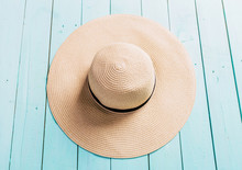 Top View Of Straw Beach Hat