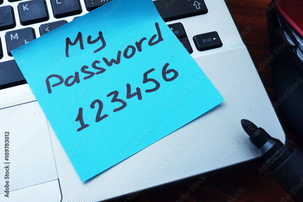 Fototapeta Easy Password concept.  My password 123456 written on a paper with marker.