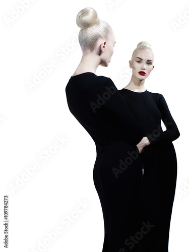 Garden Poster womenART Elegant blonde and her reflection in the mirror