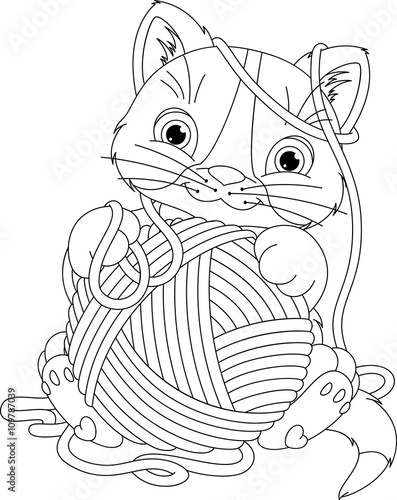 Garden Poster Fairytale World Kitten with yarn ball Coloring Page