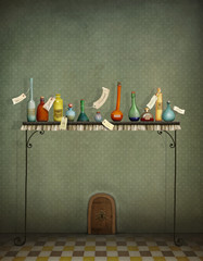 Fantasy illustration with colorfull bottles on table and  small door