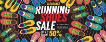 Running Shoes Sale 6250x2500 Pixel Banner Vector Illustration.