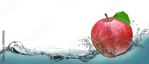 Red, juicy apple as a card on the water background. Canvas Print