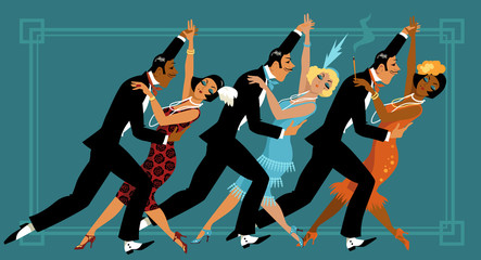 Fototapeta Group of people dressed in retro fashion dancing, EPS 8 vector illustration
