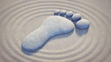 Fuss-Symbol Im Sand