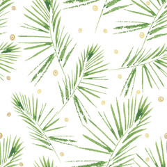 FototapetaPalm leaves pattern. Seamless, hand painted, watercolor pattern. Vector background.